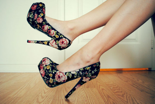 beautiful, fashion, floral, heels, high heels, love, pretty, style
