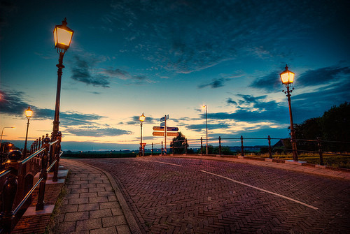 beautiful, lamp, lights, night, photography, road, sky, street, sunset