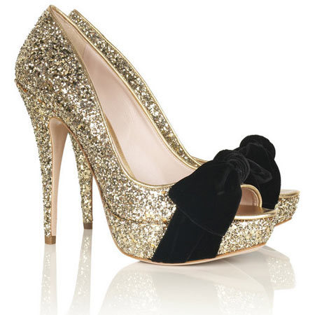 beauty, bow, bows, cute, fashion, glitter, gold, heels, shoe, shoes