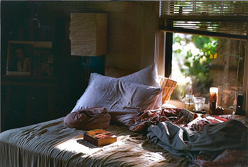 bed, bedroom, blankets, book, comfortable, cosy, home, house, interior, lamp, pillow, room, view, vintage, window