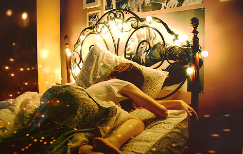 bed, bedroom, color, girl, lights, photography, pretty, twinkle
