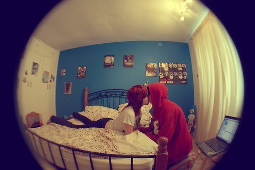 bed, blue, boy, couple, fisheye