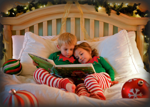 bed, book, christmas, cute, kid