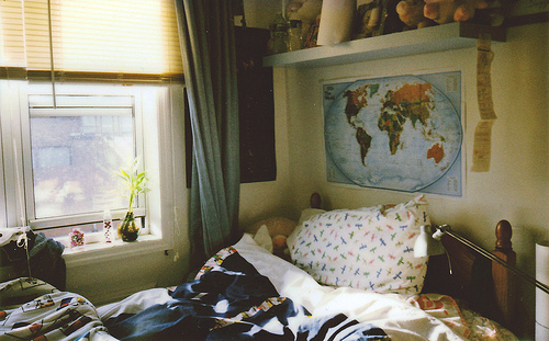 bed, book, pillow, poster, sun, window, world