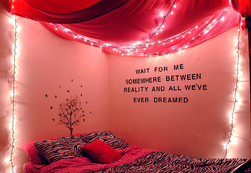 bedroom, color, dreams, lights, photography, pink, quote, twinkle