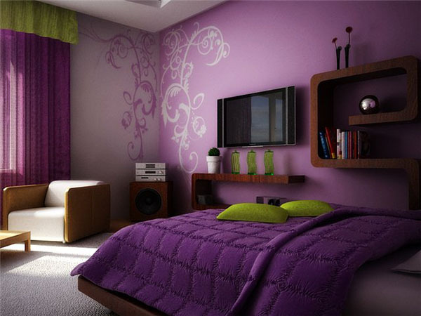 bedroom, girls bedroom, violet