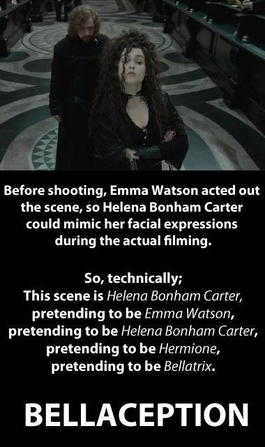 bellaception, bellatrix, death eaters, emma watson, funny