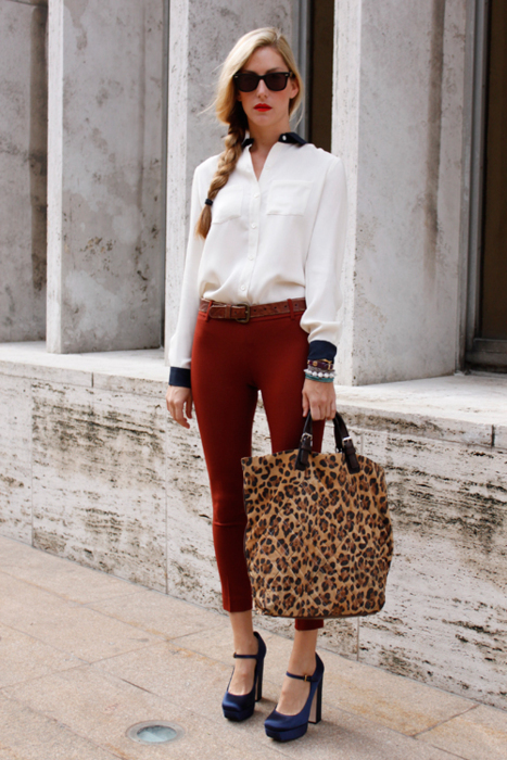 belt, blouse, cheetah, cheetah print, chunky heel, fashion, heel, heels, jewelry, leopard, leopard print, model, model off duty, pants, rayban, rayban sunglasses, shoes, style, sunglasses