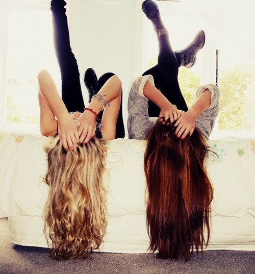 best friends, blond, brunnette, dream, face