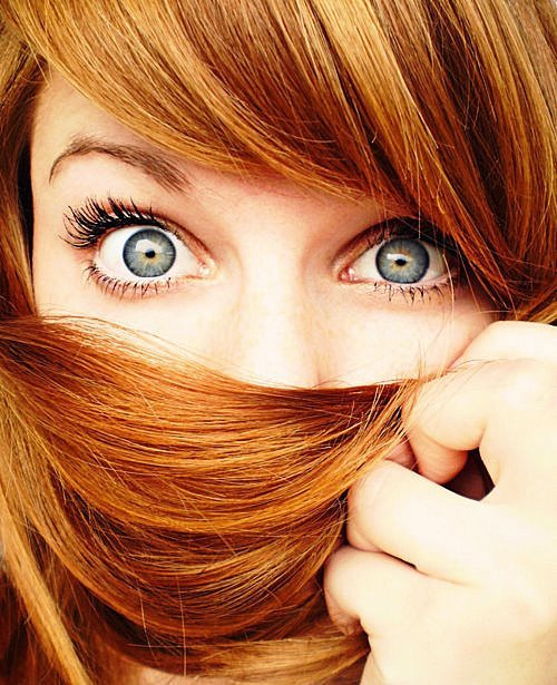 big eyes, blue eyes, cute, eyes, girl, grey eyes, hair, nice, orange hair, red hair, redhead, surprised