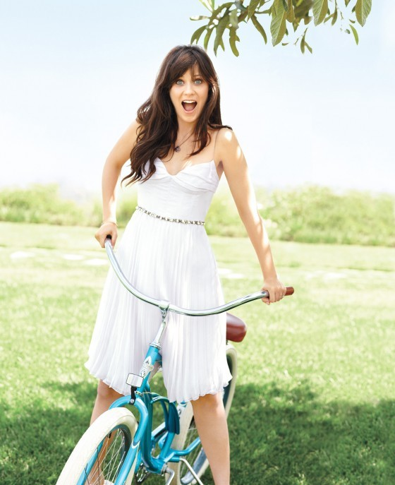 bike, black hair, blue eyes, blue sky, cute, diamonds, dress, girl, grass, hair, light, makeup, model, park, photo, photography, sexy, sky, white dress, woman, zooey, zooey deschanel