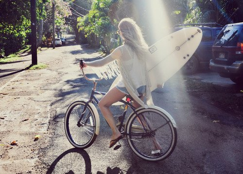 bike, blonde, flip flops, girl, light, para pambam, skinny, street, surf, surfboard, surfer
