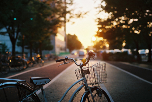 bike, photography, place, places, pretty, retro, street, sunset, sunshine, vintage