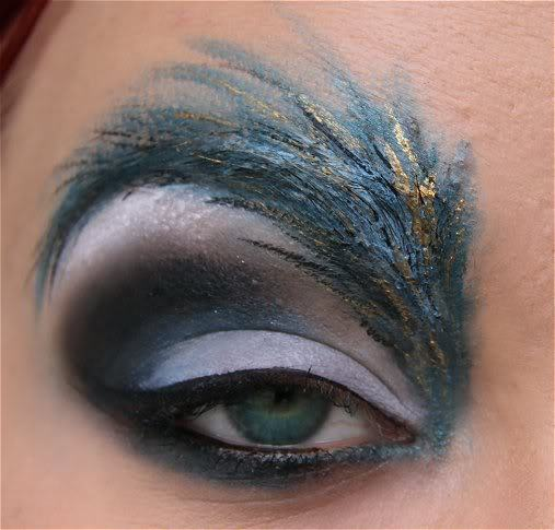 bird makeup, birds eye, eye makeup, feather, feather makeup, feathers, peacock, peacock makeup