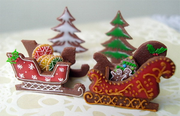 biscuit, biscuits, christmas, cookie, cookies, cute, december, delicious, food, holidays, little, mini, sled, small, tree, winter