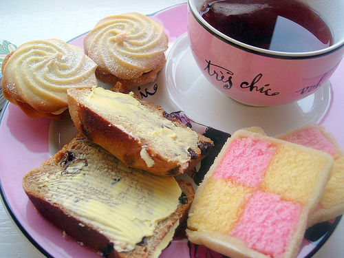 biscuits, breakfast, cute, food, pink, pretty and pink, tea, yummy