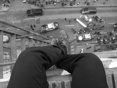black & white, building, panic, people, suicide