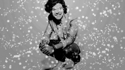 black and white, boy, curls, cute, handsome, harry styles, one direction, smile, stars