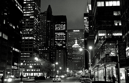 city lights black and white - photo #12