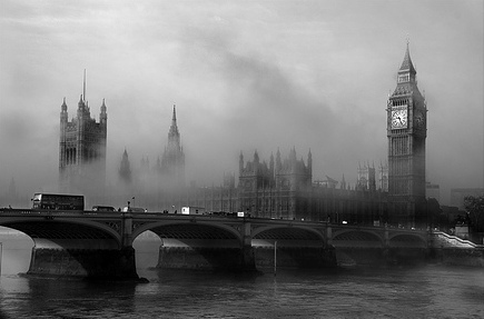 black and white, england, europe, foggy, london