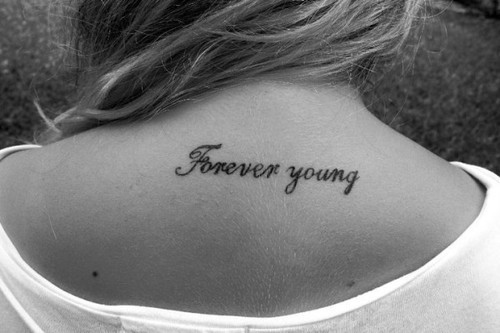 black and white, forever, forever young, tattoo, young