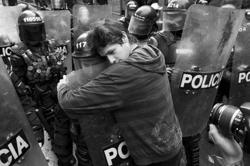 black and white, friends, hug, love, peace, police, policia, protest, riot gear, riots