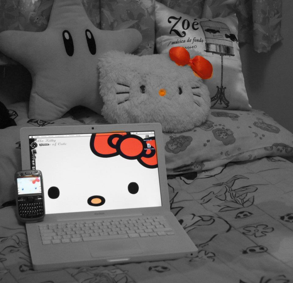 black and withe, celphone, cute, geek, hello kitty