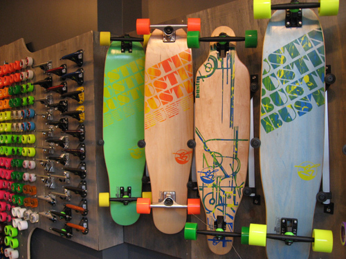 black, blue, bustin boards, green, longboard