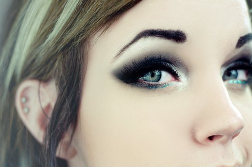 black, blue, eyeliner, glitter, makeup