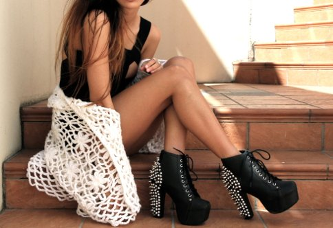 black, booties, brunette, crochet, girl, lace, pretty, stairs, studded boots, studs, tank, vintage, wedge boots
