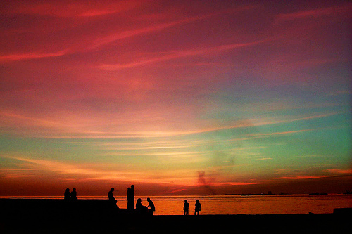black, colors, nature, ocean, people, photograph, photography, rainbow, sea, shadow, sunset
