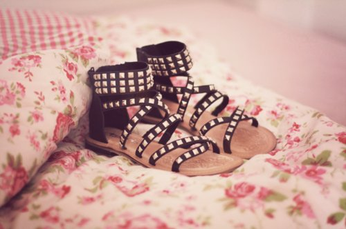 black, cute, fashion, flats, floral, photography, pretty, sandals, studs