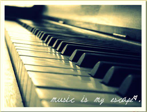 black, escape, heart, keys, love, music, music is my escape, notes, piano, pretty, vintage, white