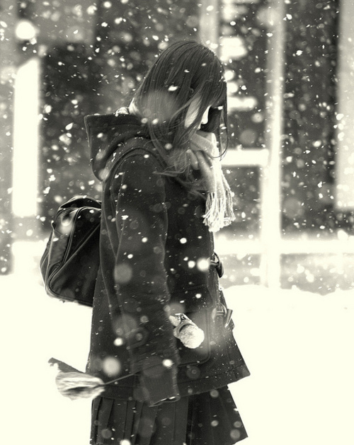 black, girl, korean girl, mode, snow, style, tokyo, white, winter