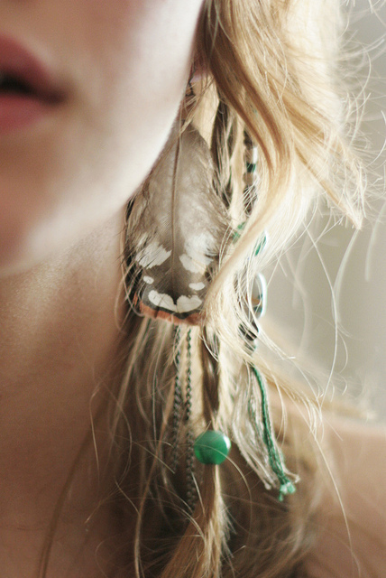 blonde, boho, earring, feather, girl