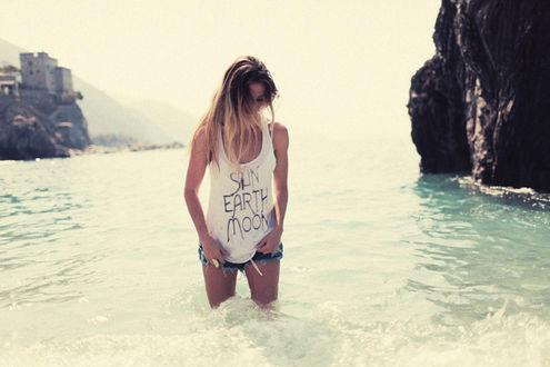 blonde, earth, fashion, girl, moon, summer, sun, water