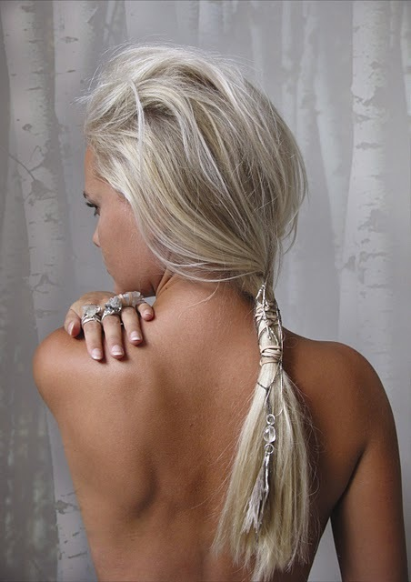 blonde, feathers, hair