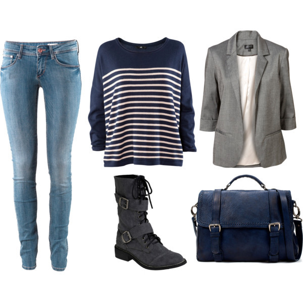 blue bag, combat boots, fashion, jean, sweater
