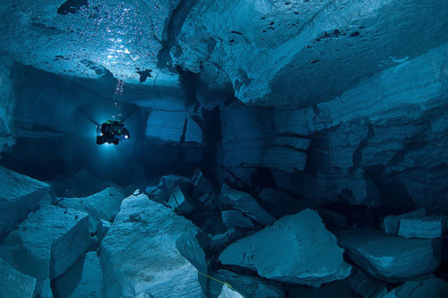 blue, cave, cool, flippers, light, ocean, rocks, scuba diving, underwater, water