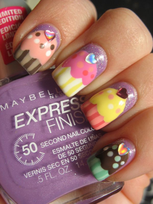 blue, cupcake, cupcakes nails, cute, fashion
