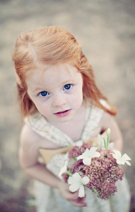 blue eyes, child, flower, nice, red hair