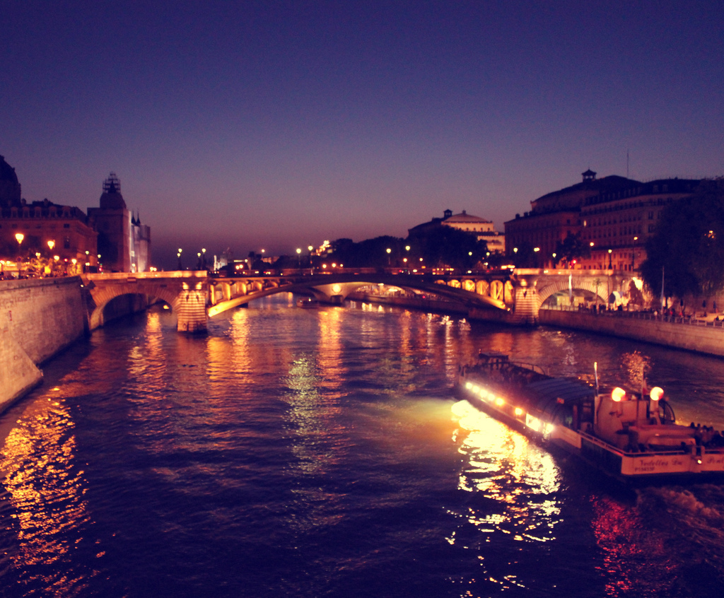 boat, lights, night, paris, river