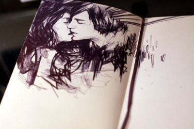book, boy and girl, couple, cute, draw, drawning, fashion, kiss, love, lovely