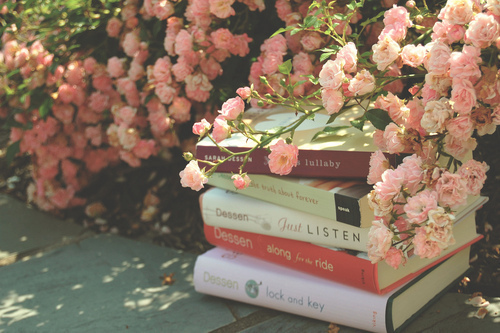 books, cute, dessen, flowers, pink