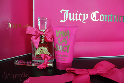 bow, couture, cute, fabulous, girly, gold, juicy, perfume, pink, pretty, spray, viva la juicy