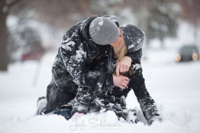 boy and girl, couple, cute, fashion, kiss, love, lovely, snow