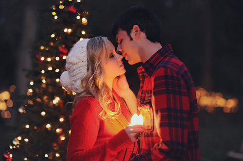 boy, christmas, forever young, girl, kiss, lights, love, real love