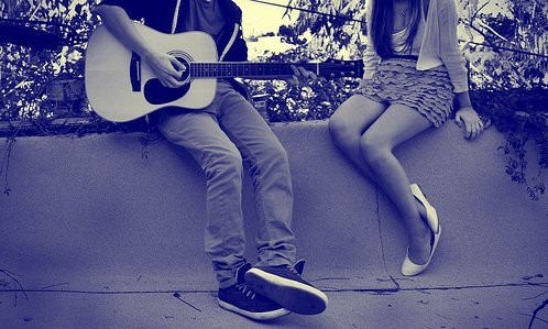 boy, couple, girl, guitar, love, music
