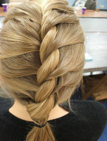 braid, brunette, colorful, fashion, hair, hairstyle, plait, style