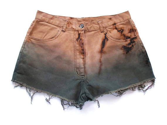 brown, dip dye shorts, dyed shorts, fashion, green, high waist, high waisted shorts, shorts, style, summer